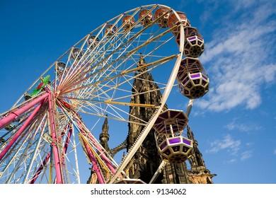 Ferris Wheel at Edinburgh's Princes Street. Scotland, United Kingdom