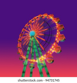 ferris wheel in evening view isolated on night view purple red sky background