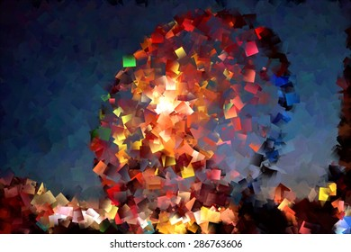 The ferris wheel at the fair, The wheel of fortune, impressionist composition of a party attraction, burst of colors, red, yellow, green, blue, white, black, Impressionist photography