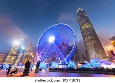 Ferris Wheel in Hong Kong City at dusk