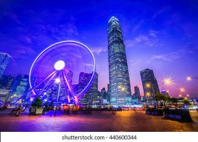 Ferris Wheel in Hong Kong City Night Light