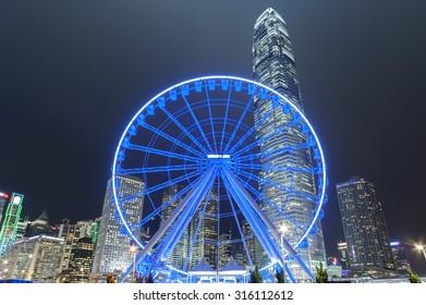 Ferris Wheel in Hong Kong at night