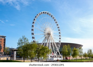 Ferris wheel of Liverpool is located near Echo Arena on Liverpool waterfront at Albert Dock