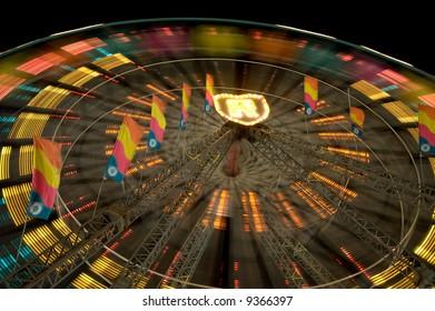 Ferris Wheel Moving - Night Scene