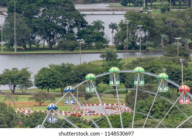 Ferris Wheel on amusement park in Parque da Cidade (City Park), Brasilia, Federal District, capital city of Brazil