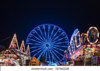 Ferris wheel on the Christmas Market in Rostock, Germany.