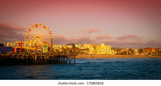 Ferris wheel on a pier, Santa Monica Pier, Santa Monica, Los Angeles County, California, USA