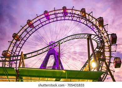 Ferris wheel on Prater at sunset in Vienna, Austria