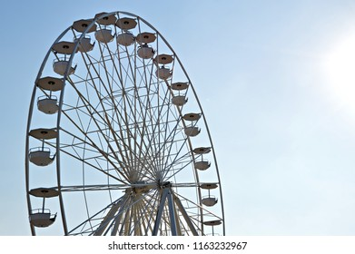 Ferris wheel on really blue sky