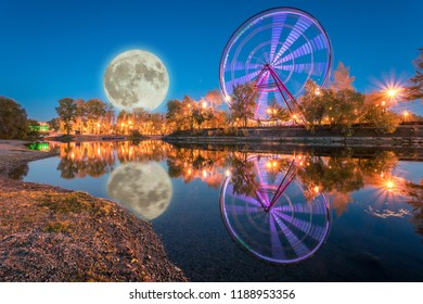 Ferris wheel in the Park at night