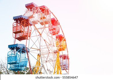 Ferris wheel Player of the fun kids with blue sky,Old and vintage Ferris wheel