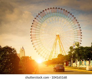 ferris wheel with sky background