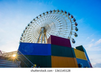 Ferris wheel under the blue sky.2018/12/29 Mitsui Outlet Park Taichungport in Taiwan