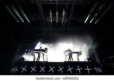 FERROPOLIS, GERMANY - JULY 17, 2016: Disclosure, an English electronic music duo consisting of brothers Howard and Guy Lawrence, playing at MELT Festival on July 17, 2016 in Ferropolis.