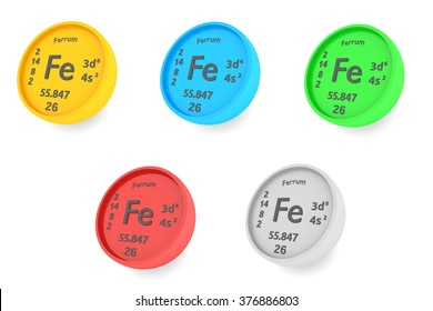 Ferrum chemical element symbols set
