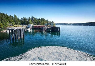 Ferry approaching the dock on Shaw Island, San Juan Islands, Washington
