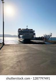 A ferry boat between Paros island and Antiparos island in the Cyclades, Greek islands.