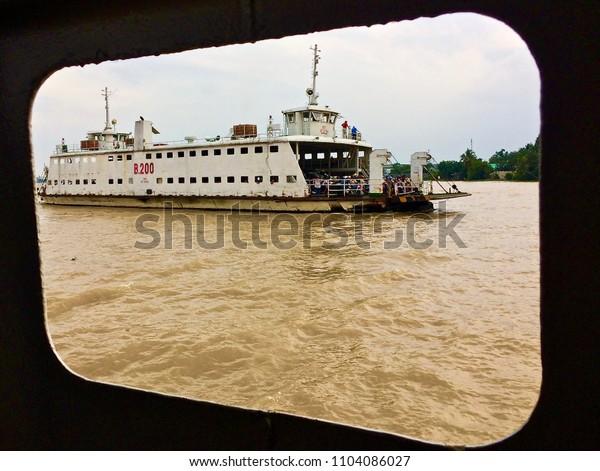 Ferry boat crossing Mekong river