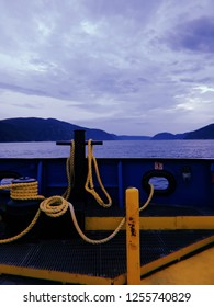 Ferry boat crossing the St. Lawerence River in Tadoussac, Quebec