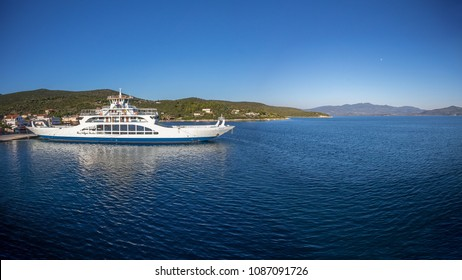 Ferry boat departing to Island of Evia, Greece