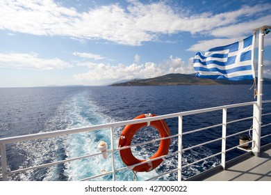 Ferry boat in Greece view on sea and islands with cruise ship trail
