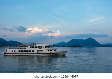 Ferry boat at lake Maggiore in Piedmont, Italy