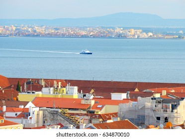 Ferry boat from Lisbon to Almada on Tagus river. Portugal