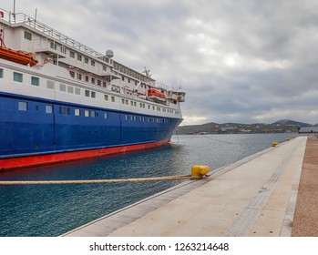 Ferry boat moored in Ermoupolis harbour in Greece. Stock Image