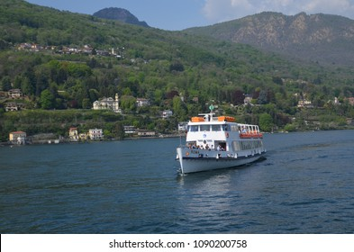 Ferry boat on Lake Maggiore, a popular european resort in the Borromean Islands. Italy Europe. May 2018