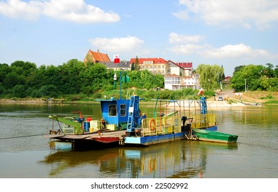 Ferry boat, vistula river in Zawichost, Poland