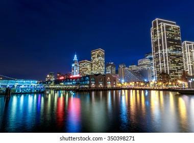 Ferry Building and Embarcadero Center illuminated at night in San Francisco, California, USA