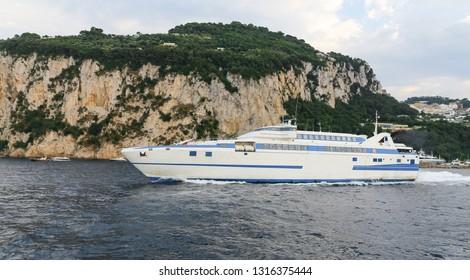 Ferry in Capri Island, Naples City, Italy