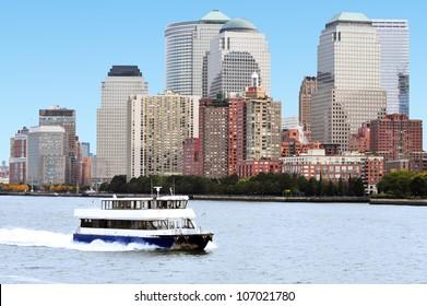Ferry circle line around Manhattan island, New York, USA.