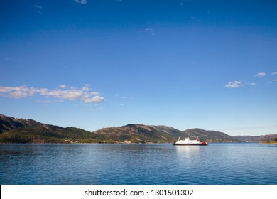 Ferry crossing Hogsfjorden fjord in Forsand municipality of Rogaland county, Norway, Scandinavia