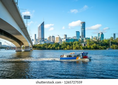 ferry cruise on brisbane river with city skyline background