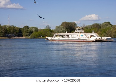 Ferry in Danube River, at Mohacs