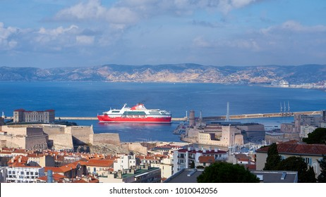 Ferry Exiting Marseilles Old Harbor