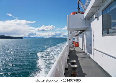 Ferry going to Juneau in Southeast Alaska on a beautiful summer day.