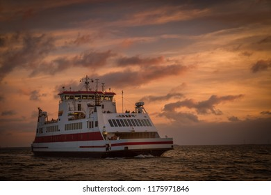 Ferry to the islands Föhr and Amrum in the evening