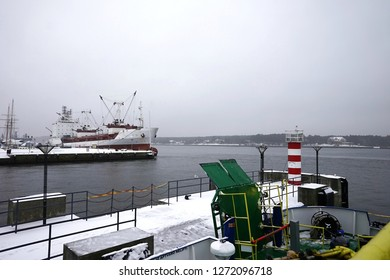 ferry in Lithuania, crossing to the Curonian Spit, in the winter season