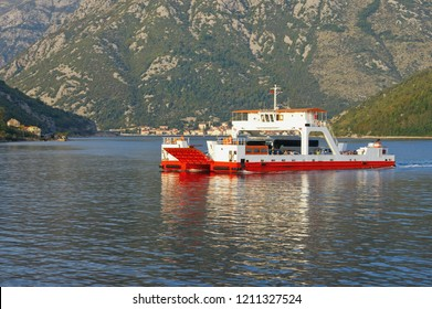 Ferry. Montenegro, Adriatic Sea, Bay of Kotor.  Ferryboat runs across Verige Strait - narrowest part of the bay