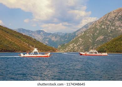 Ferry. Montenegro, ferryboats run across narrowest part of  Bay of Kotor -  Verige Strait