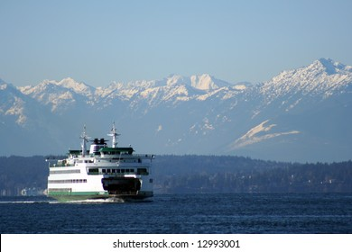Ferry with mountains