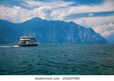 ferry on the lake Garda near Malcesine and Limone sul Garda, Italy
