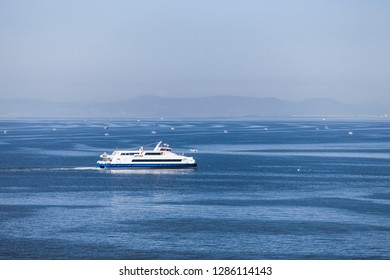 Ferry on sea. Transportation. Shipping.