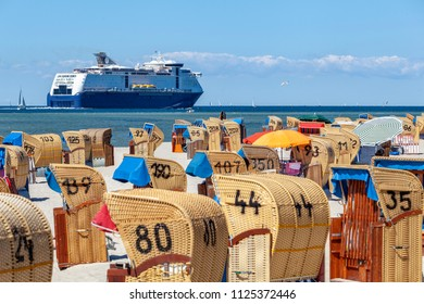 Ferry passing the beach of Laboe, Germany