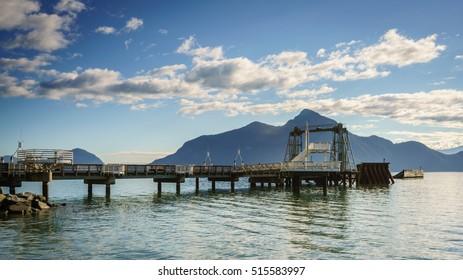 ferry pier with blue clouds sky backgrounds,Porteau Cove Provincial Park,Vancouver BC Canada