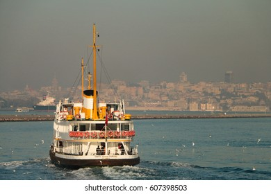 Ferry from the pier to dock ISTANBUL - September 12: