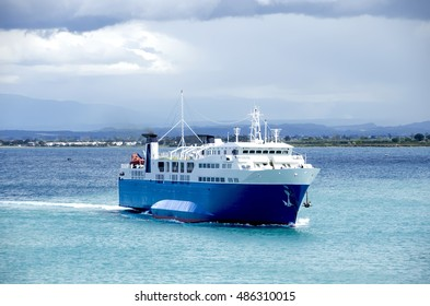 Ferry returning to port ,Greece