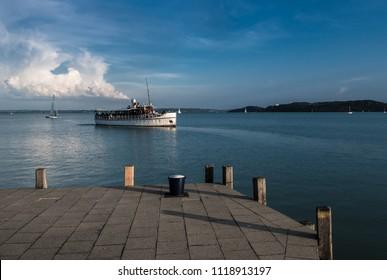 Ferry Ship approaches Harbor on Lake Balaton in Hungary
